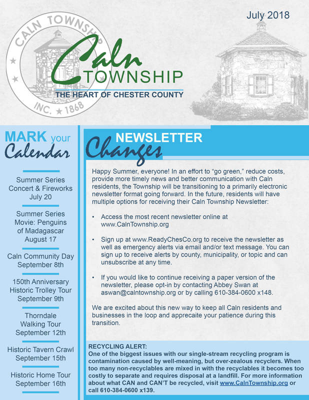 july 2018 caln township newsletter caln township